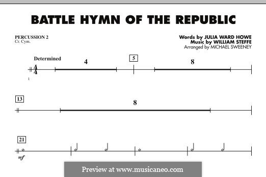 Battle Hymn of the Republic: For ensemble - Percussion 2 part by William Steffe
