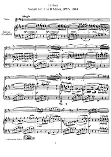 Six Sonatas for Violin and Keyboard, BWV 1014-1019: Score, solo part by Johann Sebastian Bach