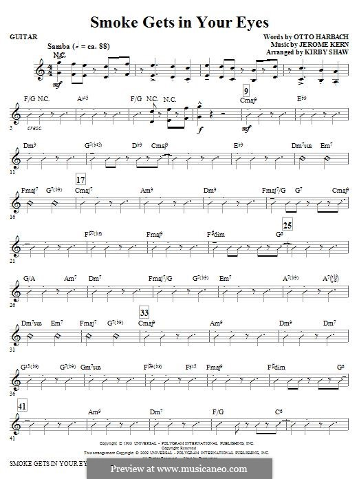 Smoke Gets in Your Eyes (from 'Roberta'): Guitar part by Jerome Kern