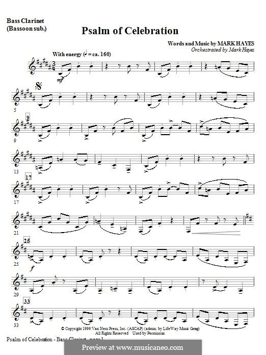 Psalm of Celebration: Bass Clarinet (sub. Bassoon) part by Mark Hayes