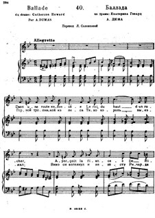 Songs and Romances (Book I), Nos.1-23: No.40 Ballade by Alexander Dargomyzhsky