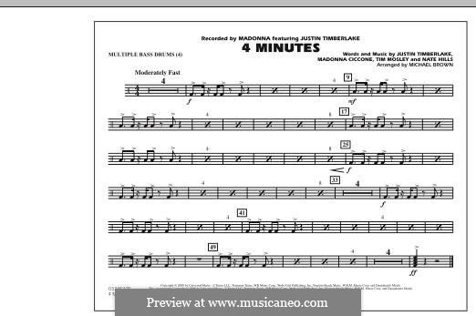 4 Minutes (Madonna featuring Justin Timberlake): Multiple Bass Drums part by Madonna, Floyd Nathaniel Hills, Timbaland