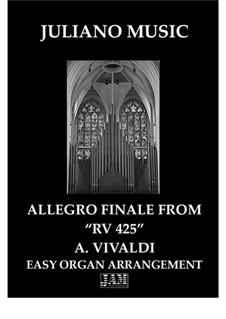 Lute Concerto for Guitar, Strings and Cembalo in C Major, RV 425: Finale, for easy organ by Antonio Vivaldi