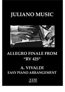Lute Concerto for Guitar, Strings and Cembalo in C Major, RV 425: Finale, for easy piano by Antonio Vivaldi