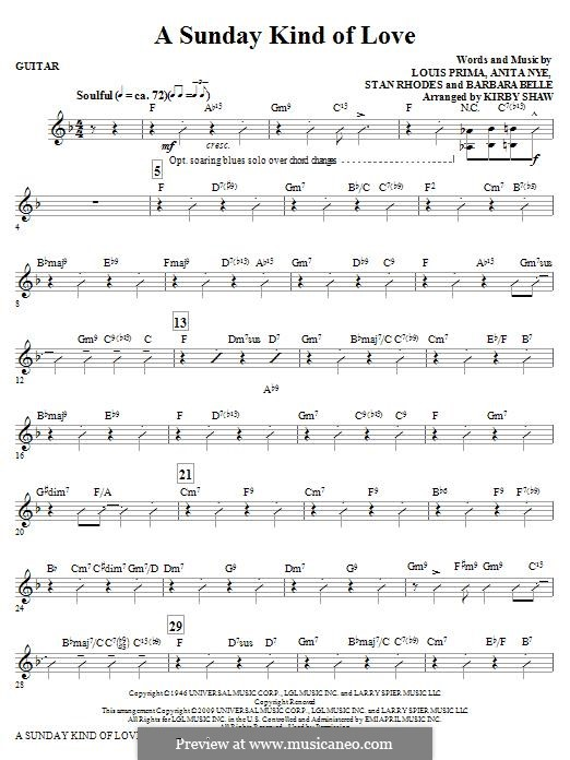 A Sunday Kind of Love: Guitar part by Anita Leonard, Barbara Belle, Louis Prima, Stan Rhodes