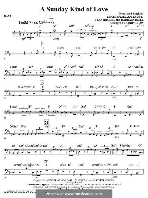 A Sunday Kind of Love: Bass part by Anita Leonard, Barbara Belle, Louis Prima, Stan Rhodes
