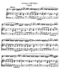 Prelude in B Flat Major: For flute and piano by Georg Friedrich Händel