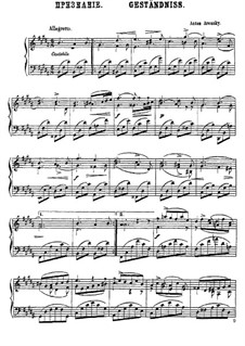 Six Canonic Pieces, Op.1: Nr.5 Geständniss by Anton Arensky