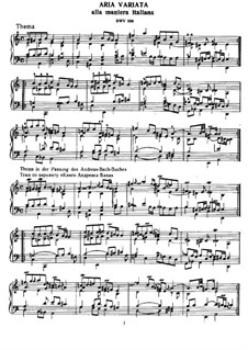 Aria and Variations in Italian Style in A Minor, BWV 989: For harpsichord by Johann Sebastian Bach