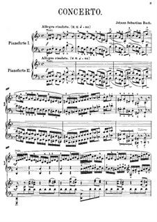 Concerto for Harpsichord and Strings No.1 in D Minor , BWV 1052: Arrangement for two pianos four hands by Johann Sebastian Bach