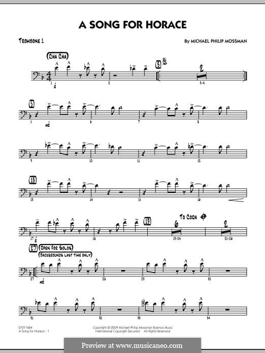 A Song for Horace: Trombone 1 part by Michael Philip Mossman