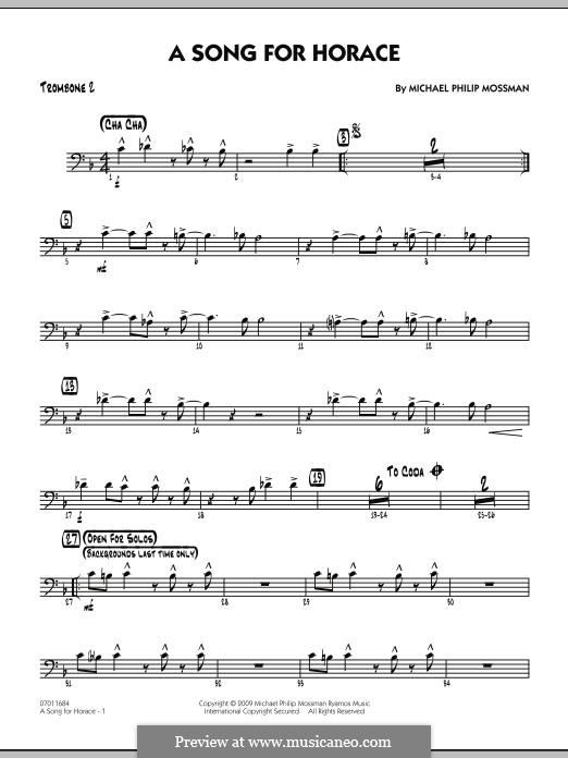 A Song for Horace: Trombone 2 part by Michael Philip Mossman