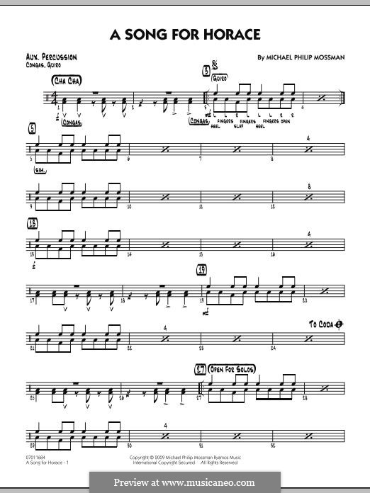A Song for Horace: Aux Percussion part by Michael Philip Mossman