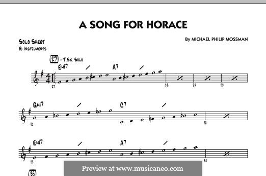 A Song for Horace: Bb Solo Sheet part by Michael Philip Mossman