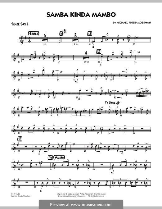 Samba Kinda Mambo: Tenor Sax 1 part by Michael Philip Mossman