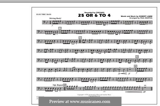 25 or 6 to 4 (Chicago) arr. Paul Murtha: Electric Bass part by Robert Lamm
