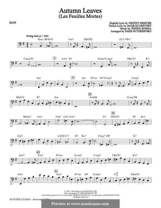 Autumn Leaves (Les Feuilles Mortes): Bass part by Joseph Kosma