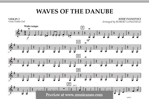 Waves of the Danube: Violin 3 (Viola Treble Clef) part by Ion Ivanovici