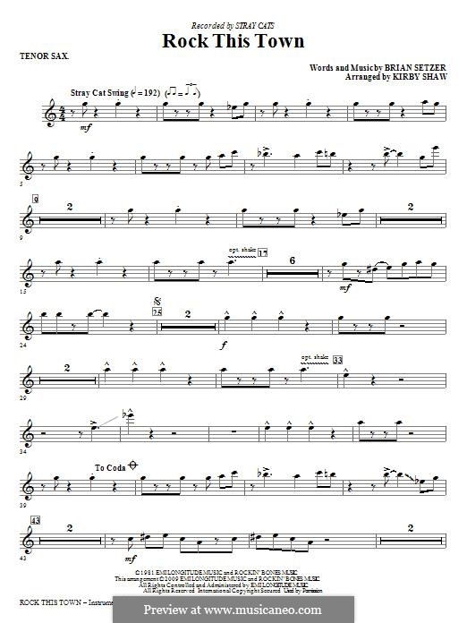Rock This Town (Stray Cats): Tenor Sax part by Brian Setzer