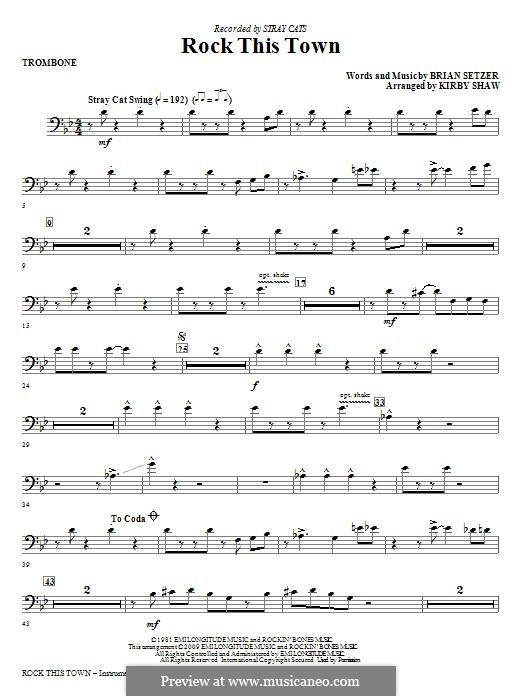 Rock This Town (Stray Cats): Trombone part by Brian Setzer
