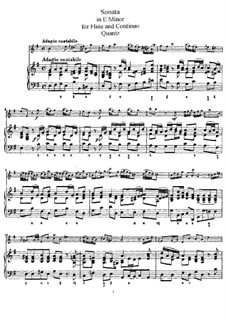 Sonata for Flute and Basso Continuo No.5, QV 1:77 Op.1: Version for flute and piano – score by Johann Joachim Quantz