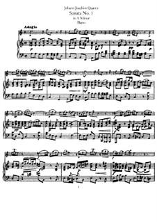 Sonata for Flute and Basso Continuo No.1, QV 1:152 Op.1: Version for flute and piano – score by Johann Joachim Quantz