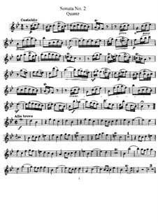 Sonata for Flute and Basso Continuo No.2, QV 1:153 Op.1: Solo part by Johann Joachim Quantz