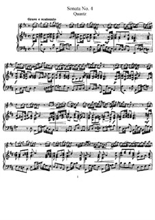 Sonata for Flute and Basso Continuo No.4, QV 1:48 Op.1: Version for flute and piano – score by Johann Joachim Quantz