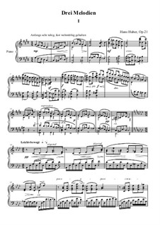Three Melodies for Piano, Op.21: Complete set by Hans Huber