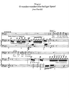 Oh, wunden-wundervoller heiliger Speer: For voice and piano by Richard Wagner