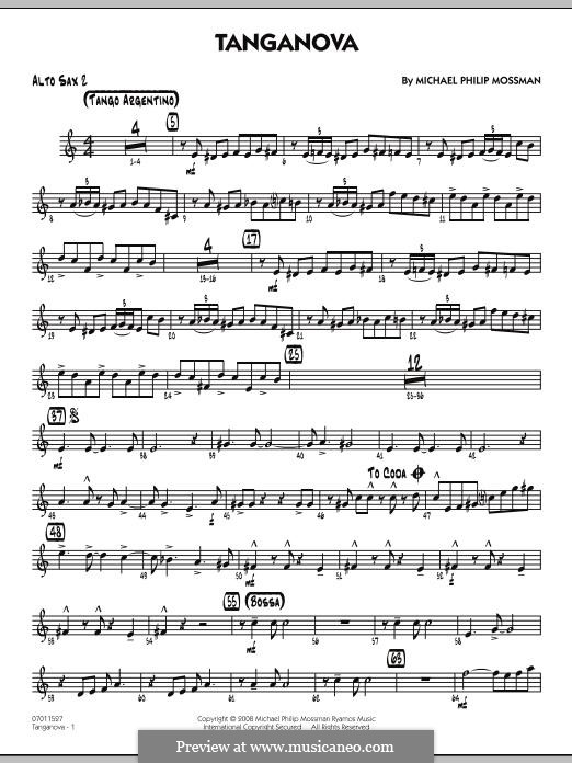 Tanganova: Alto Sax 2 part by Michael Philip Mossman