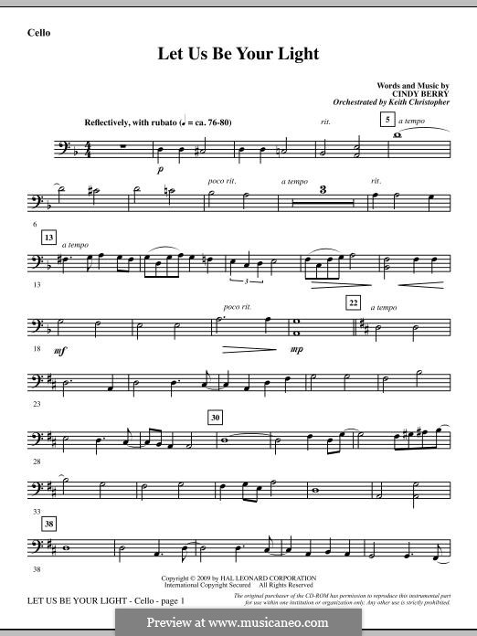 Let Us Be Your Light: Cello part by Cindy Berry