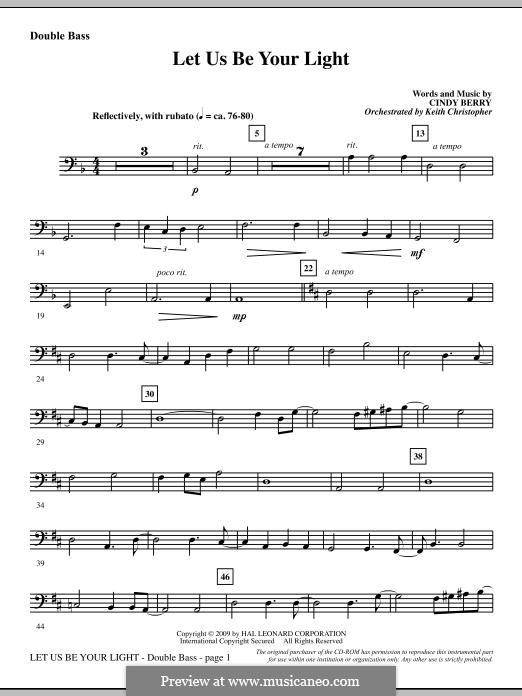 Let Us Be Your Light: Double Bass part by Cindy Berry