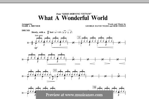 What a Wonderful World, for Orchestra (arr. Mark Hayes): Drums part by Bob Thiele, George David Weiss