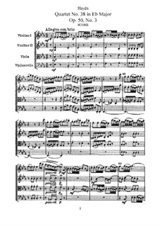 String Quartet No.38 in E Flat Major, Hob.III/46 Op.50 No.3: Full score, Parts by Joseph Haydn