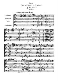 String Quartet No.49 in B Minor, Hob.III/68 Op.64 No.2: Full score, Parts by Joseph Haydn