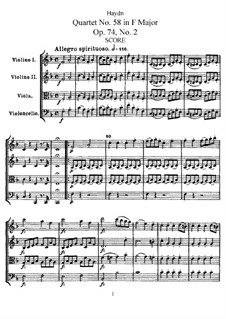 String Quartet No.58 in F Major, Hob.III/73 Op.74 No.2: Full score, Parts by Joseph Haydn