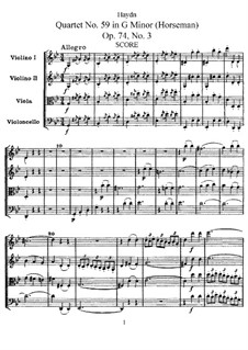 String Quartet No.59 in G Minor 'Rider', Hob.III/74 Op.74 No.3: Full score, Parts by Joseph Haydn