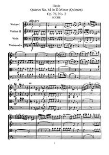 String Quartet No.61 in D Minor 'Quinten', Hob.III/76 Op.76 No.2: Full score, parts by Joseph Haydn