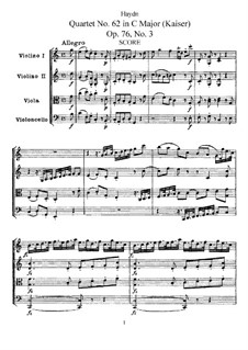 String Quartet No.62 in C Major 'Emperor', Hob.III/77 Op.76 No.3: Full score, parts by Joseph Haydn
