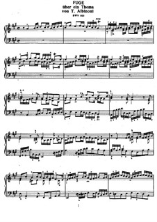 Fugue in A Major on Theme by Albinoni, BWV 950: For piano by Johann Sebastian Bach