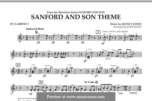 Sanford and Son Theme (arr. John Moss): Bb Clarinet 1 part by Quincy Jones