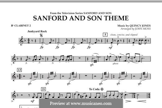 Sanford and Son Theme (arr. John Moss): Bb Clarinet 2 part by Quincy Jones