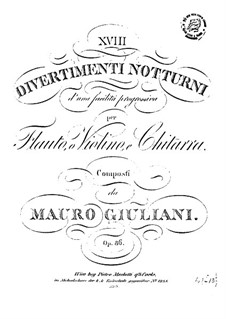 Eighteen Divertissements for Flute (or Violin) and Guitar, Op.86: Complete set by Mauro Giuliani