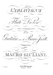 Variations for Flute (or Violin) and Guitar (or Piano), Op.84: Variations for Flute (or Violin) and Guitar (or Piano) by Mauro Giuliani