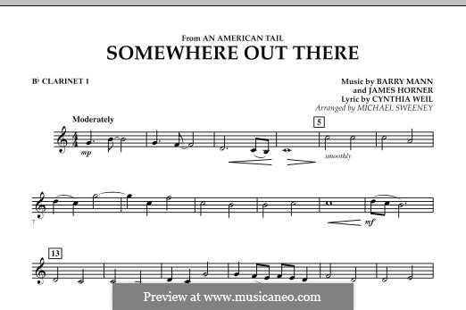 Somewhere Out There (from An American Tail) arr. Michael Sweeney: Bb Clarinet 1 part by Barry Mann, Cynthia Weil, James Horner