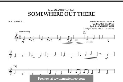 Somewhere Out There (from An American Tail) arr. Michael Sweeney: Bb Clarinet 2 part by Barry Mann, Cynthia Weil, James Horner
