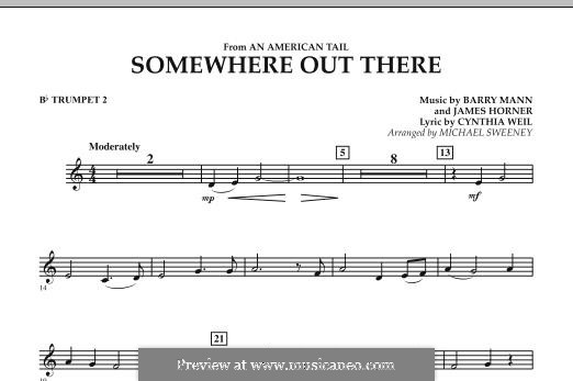 Somewhere Out There (from An American Tail) arr. Michael Sweeney: Bb Trumpet 2 part by Barry Mann, Cynthia Weil, James Horner