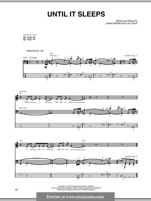 Until It Sleeps (Metallica): For bass guitar with tab by James Hetfield, Lars Ulrich