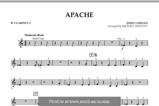 Apache (Percussion Section Feature): Bb Clarinet 2 part by Jerry Lordan